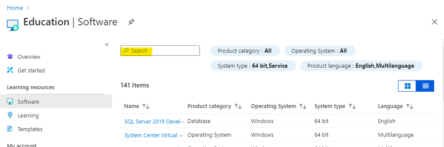 How to search for software in Azure for Education