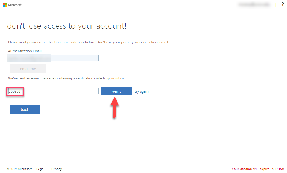 Email verification screen