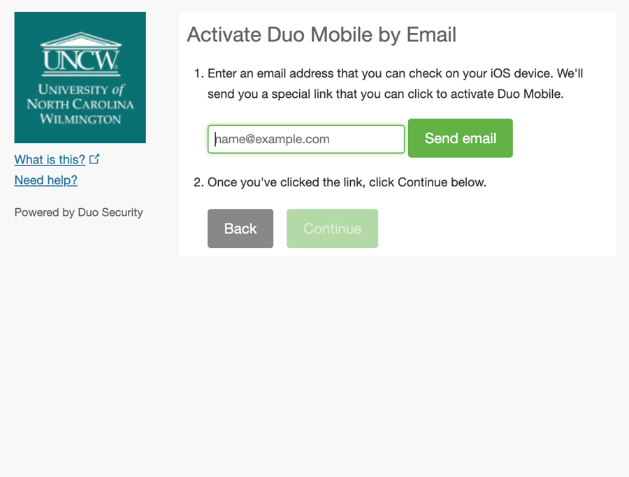 An example of the on-screen instructions to activate Duo Mobile through email.