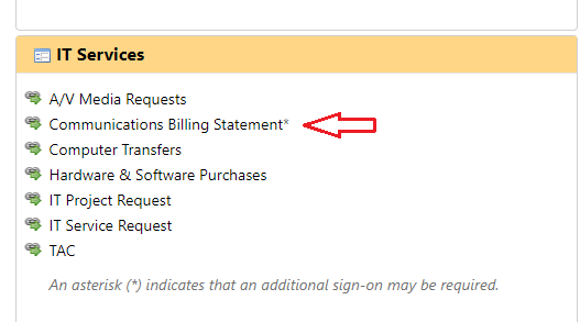 """The additional services menu in myseaport, with a red arrow pointing to """"Communications Billing Statement"""""""