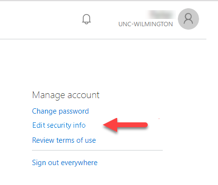 View of proper selection to set up self service password reset
