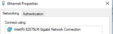 screenshot of ethernet properties