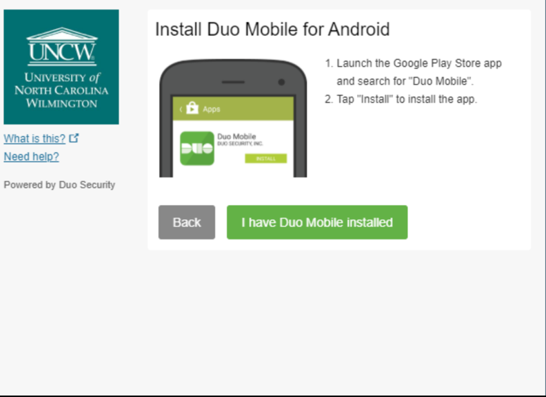 An example of the on-screen instructions for installing the Duo Mobile App on an Android device.