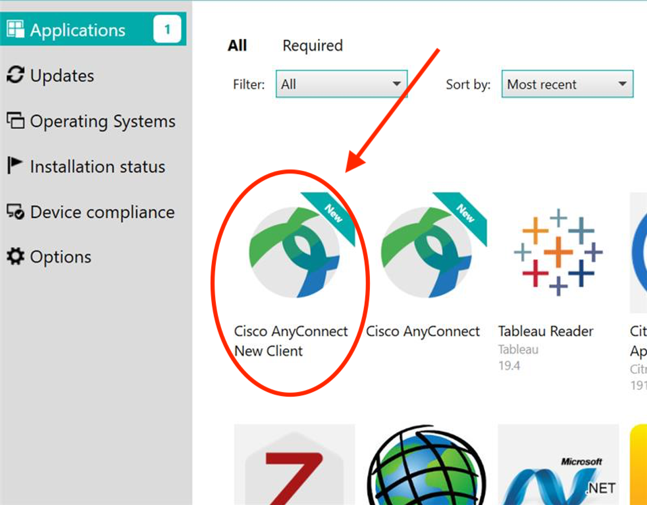 AnyConnect icon in the software center.