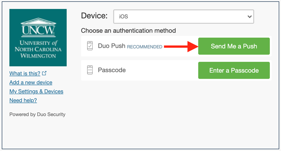 """2FA Duo Authentication Screen highlighting """"send me a push"""""""
