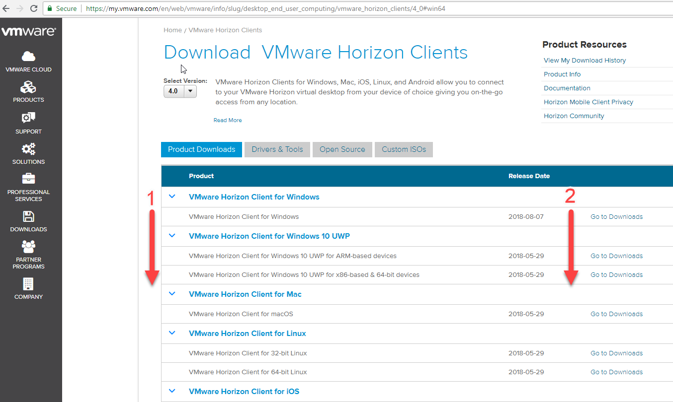 Picture of download VMWare window