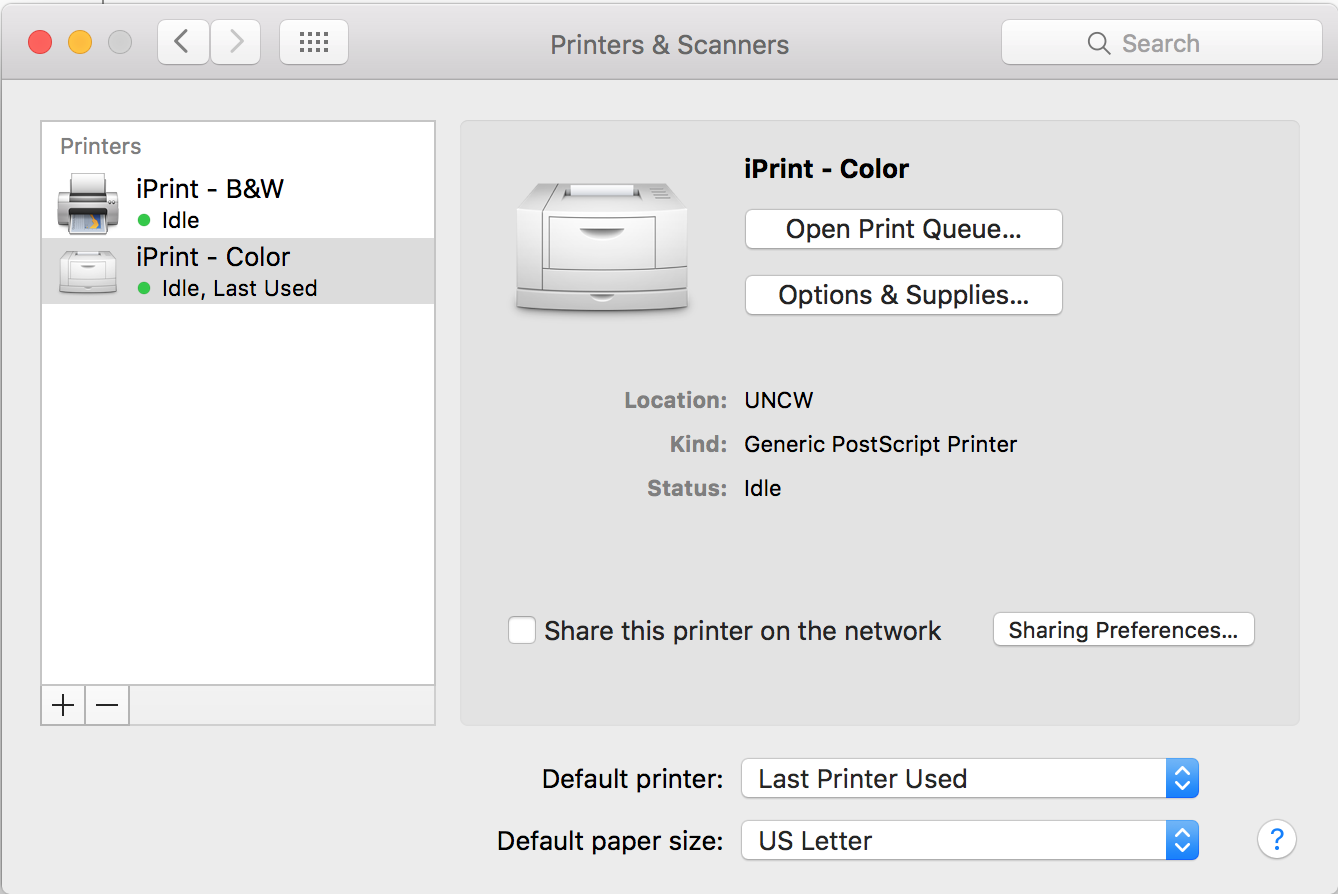 """Printer & Scanner"""" window displaying both the Iprint black and white (B&W) printer, as well as the iPrint color printer."""