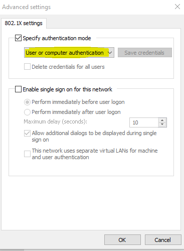 screenshot of 802.1x settings