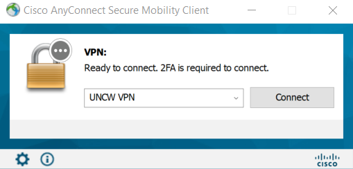 Screenshot of Cisco AnyConnect Client Ready to Connect window stating that 2FA is required. UNCW VPN is in the dropdown box.