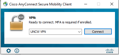 A screenshot of the Cisco AnyConnect Secure Mobility Client - showing UNCW VPN in the dropdown section and the Connect button.