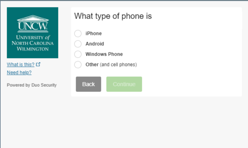 2FA Enrollment screen prompting the user to select the device's operating system.