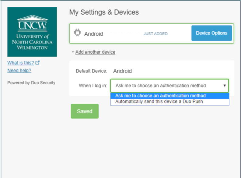 An on-screen example of changing the default device authentication method.