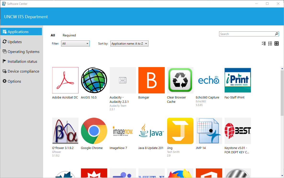 screenshot of software center and applications