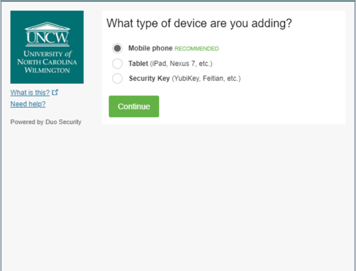 """2FA Enrollment: Showing the screen for the type of device you are adding. Options are """"Mobile Phone (Recommended)"""" or """"Tablet."""""""