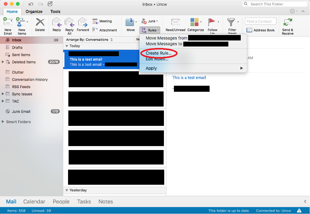 """Screenshot of Outlook on a Mac, with the """"Rules"""" menu expanded."""