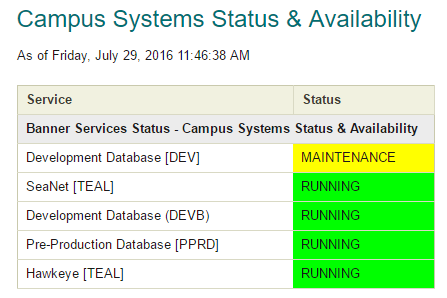 Screenshot of the Status of Banner services on campus.