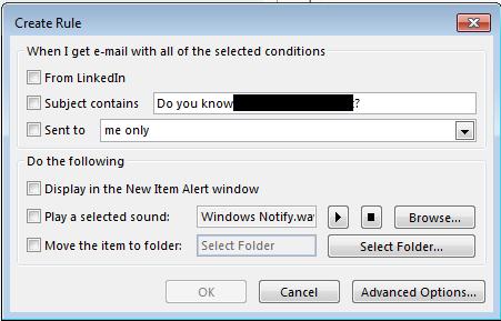 Screenshot of the Create Rule window.