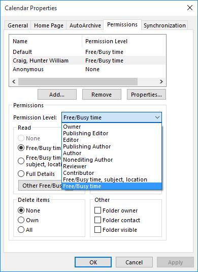 A screenshot of the Calendar Properties window.