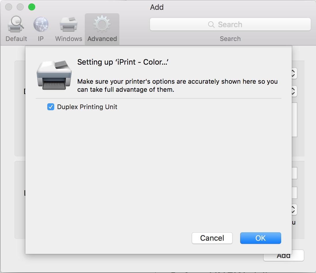 "Add printer screen - check the ""Duplex Printing Unit"" box and click ""OK"" to finish the process."