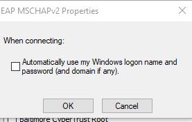 screenshot of EAP MSCHAPv2 Properties
