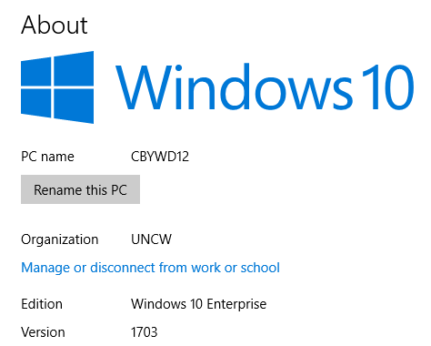 Screenshot of the about page in windows 10