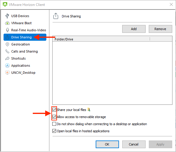 """Horizon settings screen. Drive Sharing is highlighted from the left-hand menu. """"Share your local files"""" and """"Allow access to removable storage"""" options are checked."""