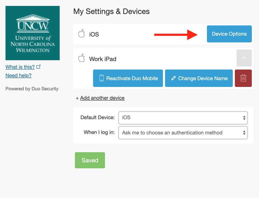 """Settings for """"device options"""" allowing user to change the name of the device, remove the device, or reactivate Duo Mobile"""