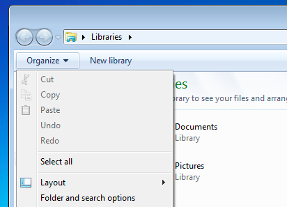 """Screenshot of the """"Organize"""" option in the File Explorer"""