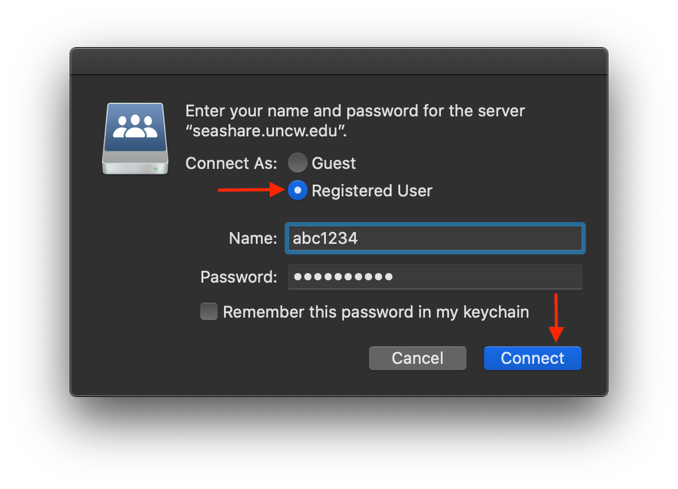 Connect to Server Authentication prompt on a Mac.
