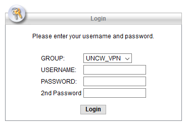 VPN Login screen showing username, password, and 2nd password fields.