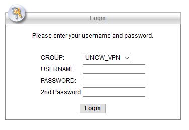 VPN Login screen showing username, password, and 2nd password fields.