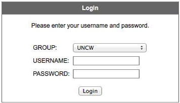 Login screen for VPN Connection