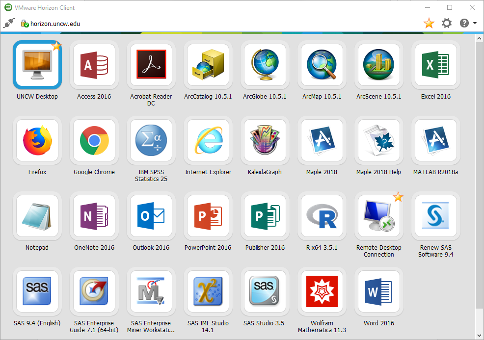 Screenshot of desktop application choices