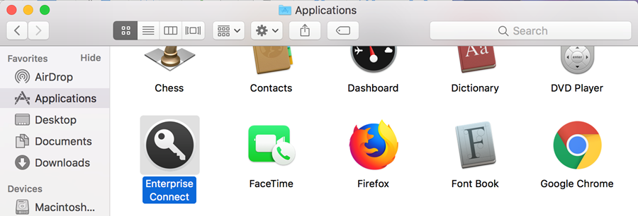 Open Enterprise Connect from the Applications folder of Finder.