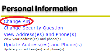 SeaNet Screenshot highlighting change pin inside personal information section