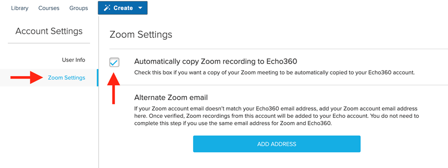 "Echo360 Account Settings in the Zoom Settings section, with the box checked to ""automatically copy zoom recording to Echo360."""