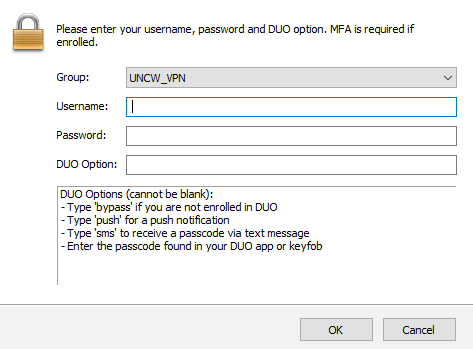 VPN login window showing username, password, and DUO password fields. With DUO options below.