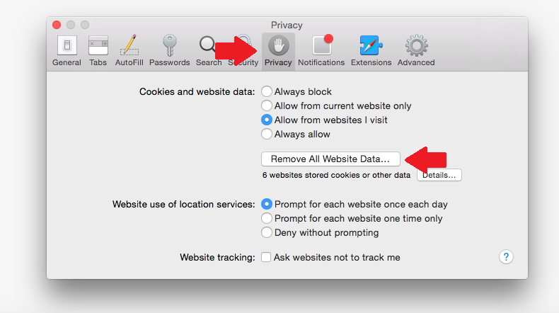 privacy tab safari preferences