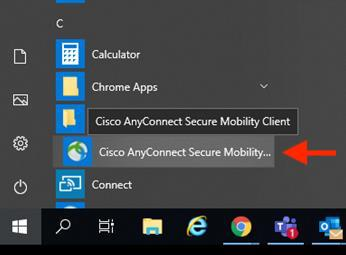 This image highlights launching Cisco AnyConnect Client from the Windows Start Menu.