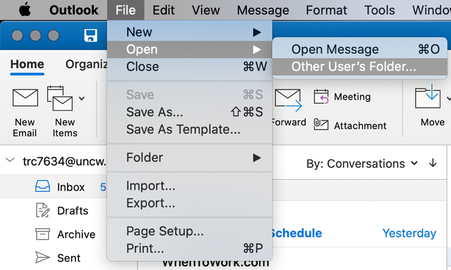 """Outlook for Mac, highlighting """"file"""" then """"open"""" and """"other user's folder"""""""