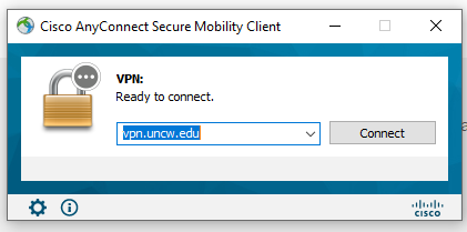Screenshot of Cisco AnyConnect Client Ready to Connect window.