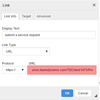 The area where you can input a URL in the Link edit screen.