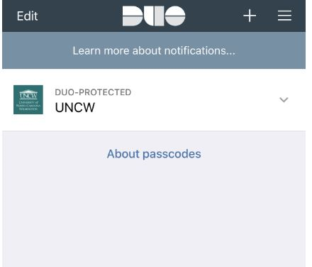 """An example indicating """"Duo-protected UNCW"""" in the Duo Mobile App on the device"""