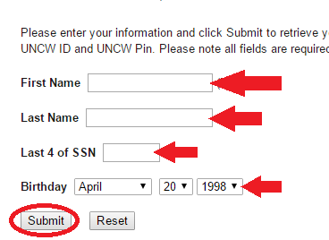 PIN Retrieval App Screenshot showing First name, last name, last 4 of ssn and birthdate section