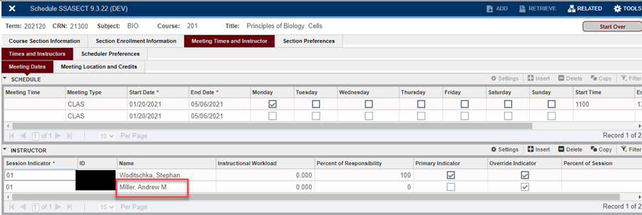 """In """"SSASECT,""""on the""""Meeting Times and Instructor"""" tab, the TA must be attached to the class."""