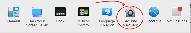 The Security & Privacy icon highlighted in the MAC system preferences.