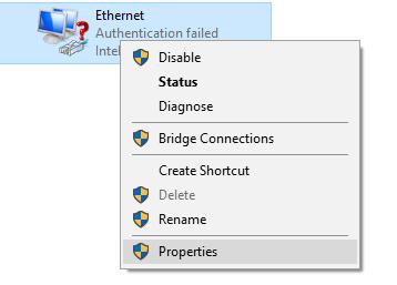 Screenshot of dropdown menu for properties