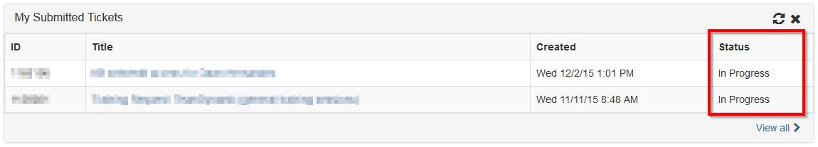 Screenshot showing the ticket status screen in TeamDynamix