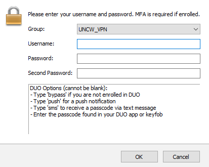 VPN login window showing username, password, and second password fields. With DUO options below.