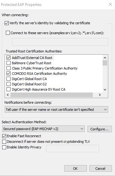 screenshot of protected EAP properties